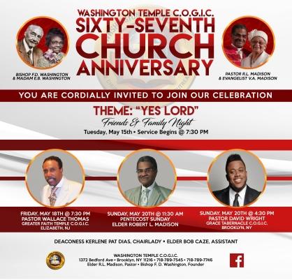 67th Church Anniversary Graphic
